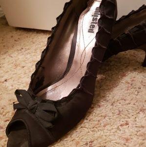 Black Satin Dress Shoe - Size 8